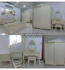 Desain Set Kamar Tidur Ukiran Klasik Putih Duco
