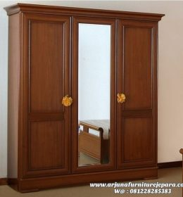 Lemari Pakaian 3 Pintu Kayu Jati Terbaru, harga lemari pakaian 3 pintu, almari pakaian kayu 3 pintu
