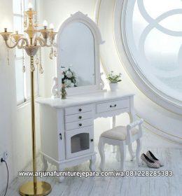 Meja Rias Ukir Classic Putih Duco Jepara
